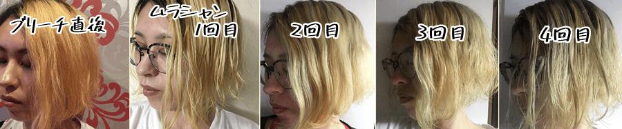 ブリーチ後の髪にムラシャンすると外国人風の金髪になれる